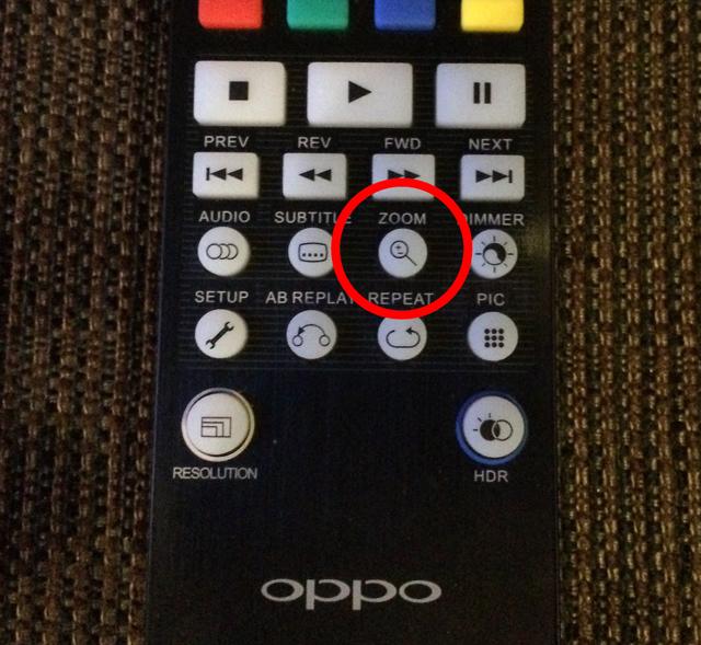 OPPO UDP-203リモコンズームボタン